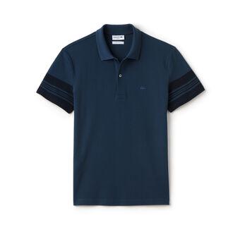Men's Slim Fit Striped Sleeves Cotton Piqué Polo Shirt