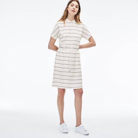 라코스테 피케 니트 원피스 화이트, 허리밴드 피케 셔츠 원피스 Lacoste Womens Elasticized Waistband Knit Polo Dress,flour/navy