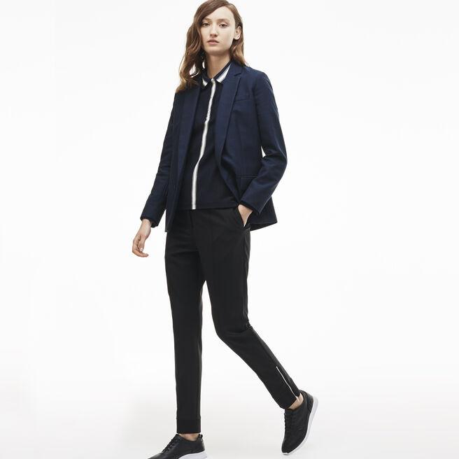 Women's Ribbed Hem Zip Detail Wool Jogger Pants