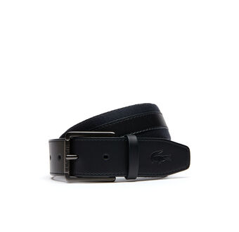 Men's Leather And Polyester Belt With Lacoste Buckle