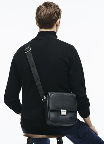 Men's Rafael Monochrome Leather Zip Crossover Bag