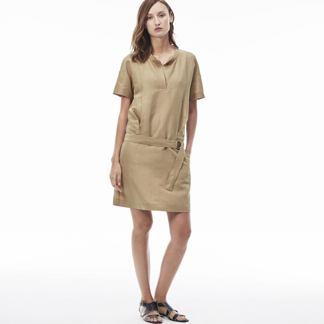 Women's Canvas Belted T-Shirt Dress