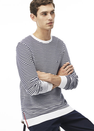 """Men's """"Made in France"""" Crew Neck Striped Cotton Zip Sweater"""