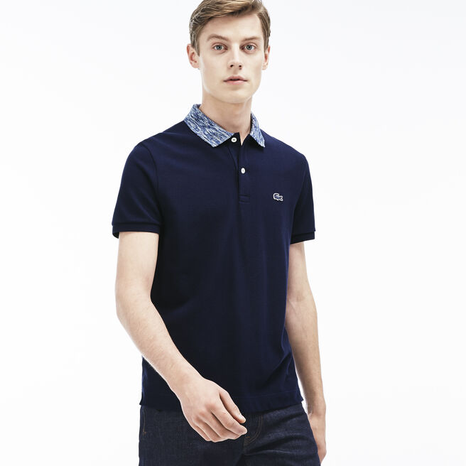 Men's Heather Collar Piqué Polo Shirt