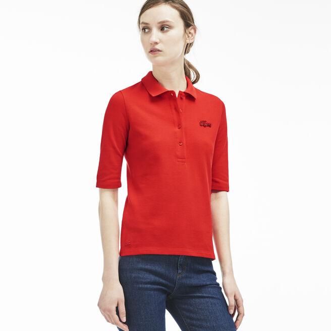 Women's Slim Fit Pearly Crocodile Polo Shirt