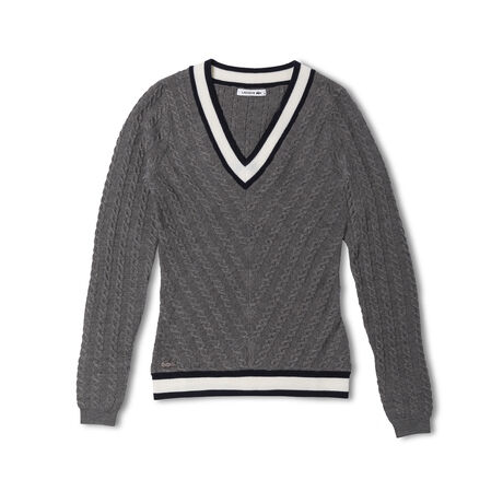 Women's V-neck Cable Knit Wool Sweater