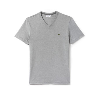 Men's V-Neck Striped Cotton Jersey T-Shirt