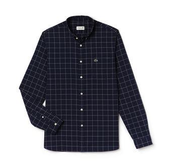 Men's Regular Fit Checked Print Oxford Cotton Shirt