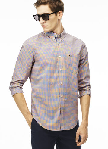 Men's Regular Fit Colored Finely Checked Poplin Shirt