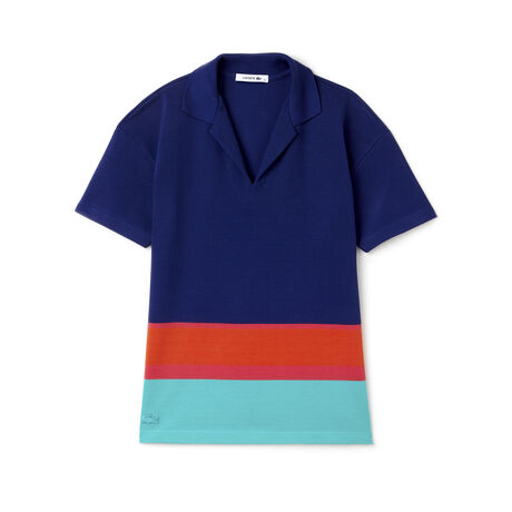 Women's Stripe Colorblock Cotton Polo Shirt