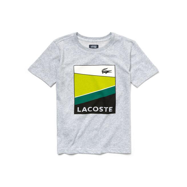 Boy's Lacoste Sport Cotton Colorblock Stripe Graphic T-Shirt