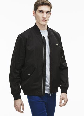 Men's Textured Nylon Bomber Jacket