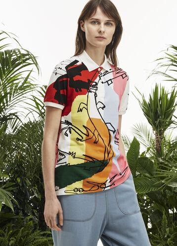 Women's Fashion Show Relaxed Fit Croc Print Polo Shirt