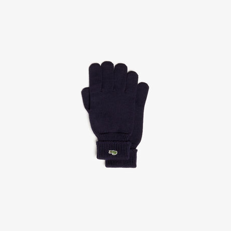 라코스테 장갑 Lacoste Mens Green Croc Wool Gloves,navy blue