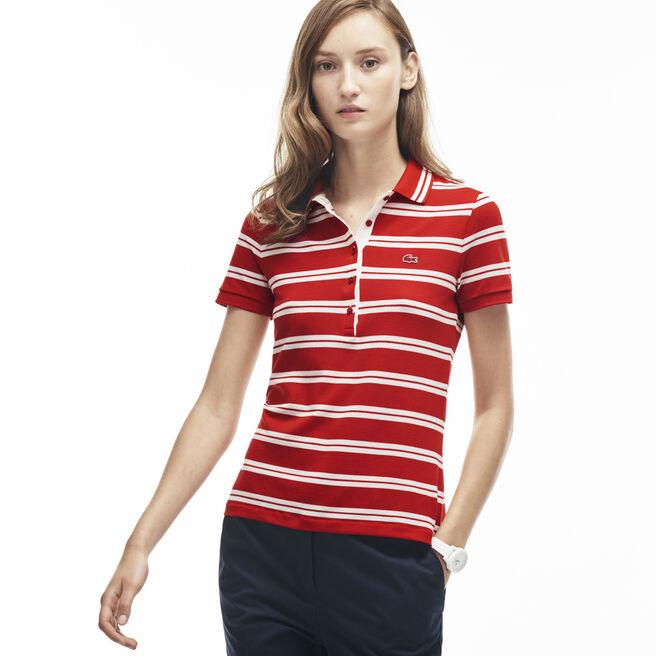 Women's Slim Fit Stripe Polo Shirt