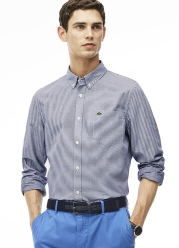 Men's Slim Fit Checked Jacquard Cotton Poplin Shirt