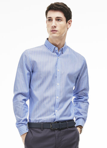 Men's Poplin Slim Fit Striped Shirt