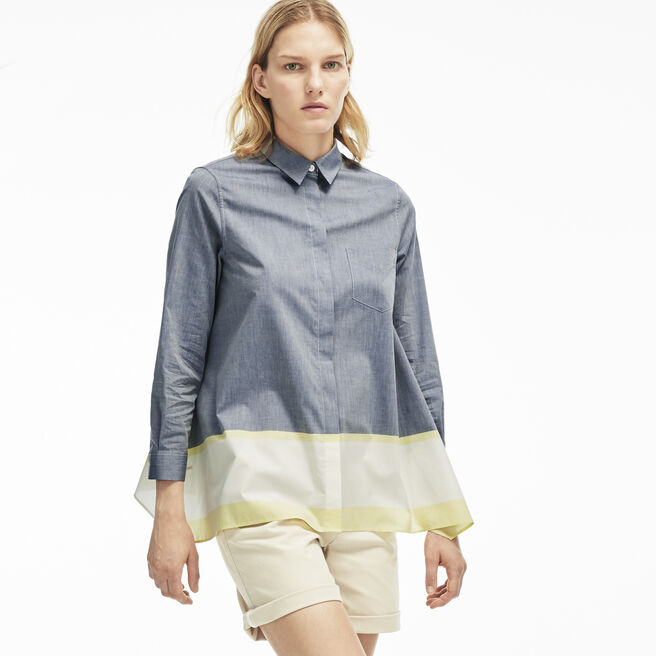 Women's Poplin Colorblock Asymmetrical Blouse
