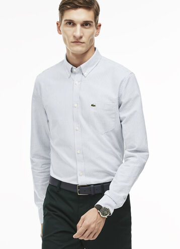 Men's Regular Fit Oxford Cotton Striped Shirt