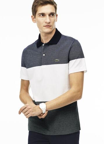 Men's Regular Fit Piqué Texturized Colorblock Polo Shirt