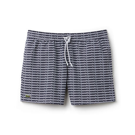 Men's Short Cut Lettering Print Swimming Trunks