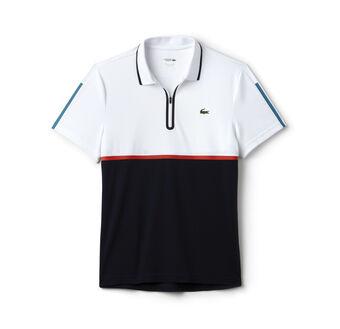 Men's SPORT Ultra Dry Zip Pique Knit Tennis Polo Shirt