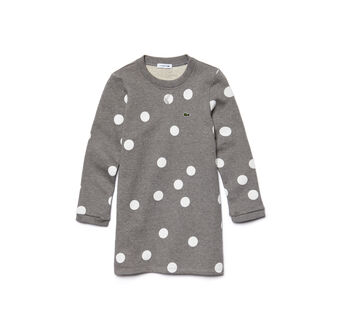 Kids' Long Sleeve Polka Dot Sweatshirt Dress