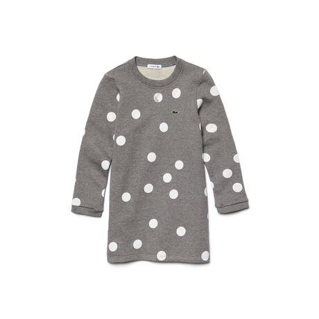 Kids' Long Sleeve Polka Dot Sweatshirt Dress