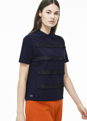 Women's L!VE Mini Pleated Stripe Polo Shirt