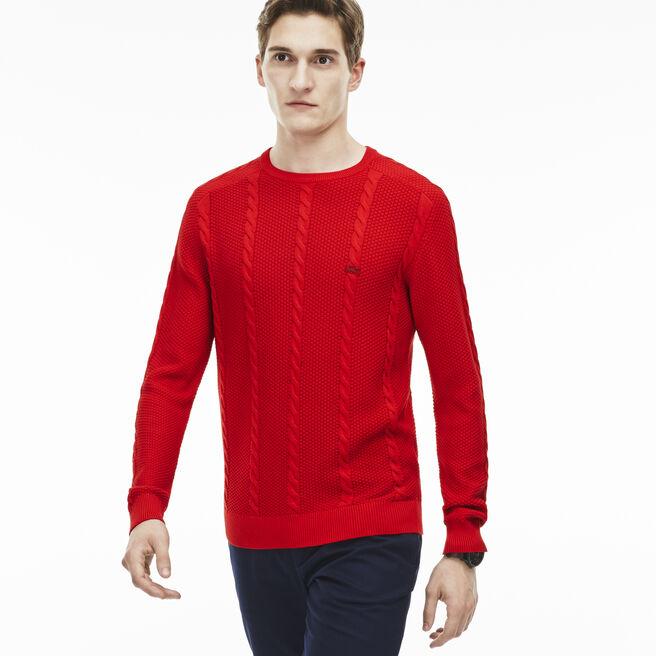 Men's Resort Cotton Cable Crewneck Sweater