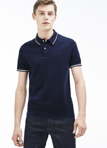Men's Slim Fit Piping Piqué Polo Shirt