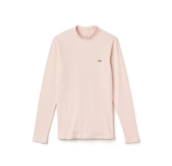Women's L!VE Mock Neck Stripe Cotton T-Shirt