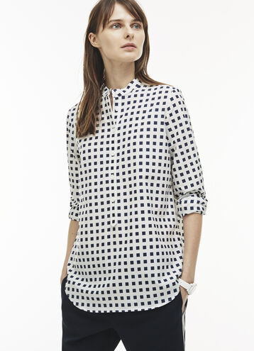 Women's Flowing Print Cotton And Silk Voile Blouse