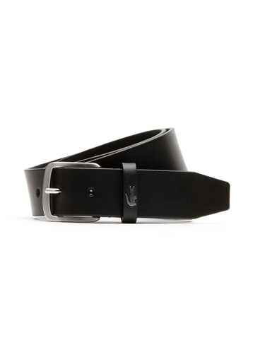 Belt in leather with crocodile loop