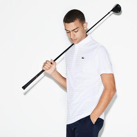 라코스테 자가드 폴로 티셔츠, 남성 스포츠 피케 카라티 Lacoste Mens SPORT Golf Striped Tech Jacquard Jersey Polo,white