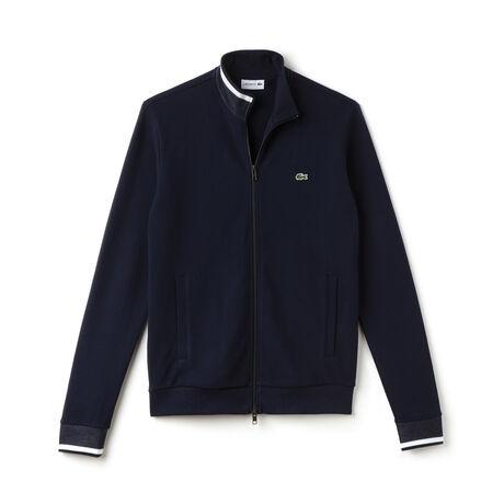 Men's Contrast Finishes Zippered Fleece Sweatshirt