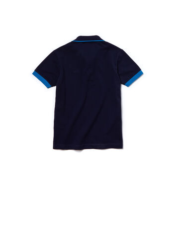 Kids' Piping Cotton Piqué Polo Shirt