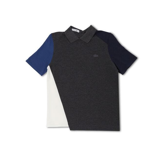 Women's Color Bock Asymmetrical Hem Polo Shirt
