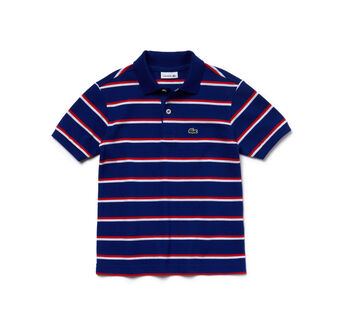 Boy's Fine Stripe Pique Polo Shirt