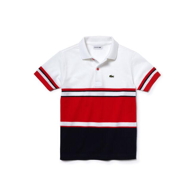 Kids' Color Block Cotton Piqué Polo Shirt