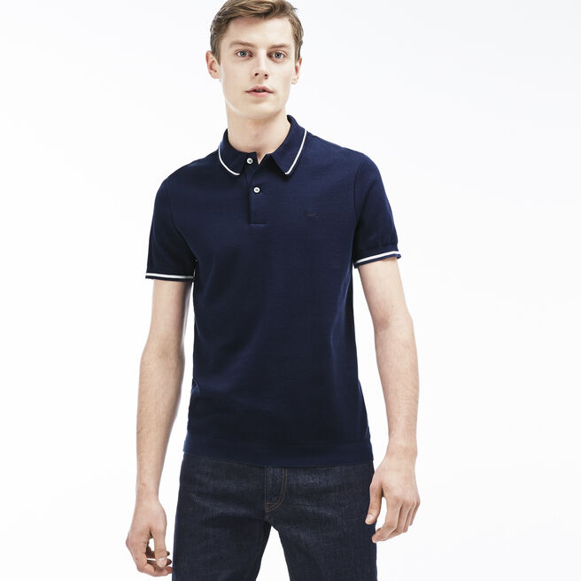 Men's Slim Fit Piping Piqué Polo Shirt