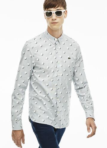 Men's L!VE Slim Fit Stripes And Polka Dots Shirt