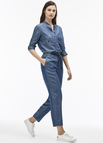 Women's Tie Belt Chambray Cargo Pants