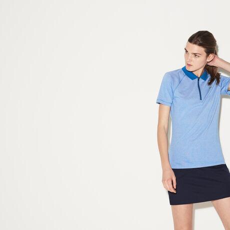 라코스테 스포츠 폴로 피케 티셔츠 Lacoste Womens SPORT Zip Neck Golf Polo,medway blue/white-medway