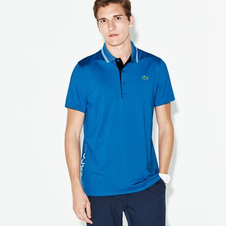 라코스테 스포츠 폴로 티셔츠 블루, 남성 스포츠 피케 카라티 Lacoste Mens SPORT Lettering Stretch Golf Polo,medway blue/navy blue-whi