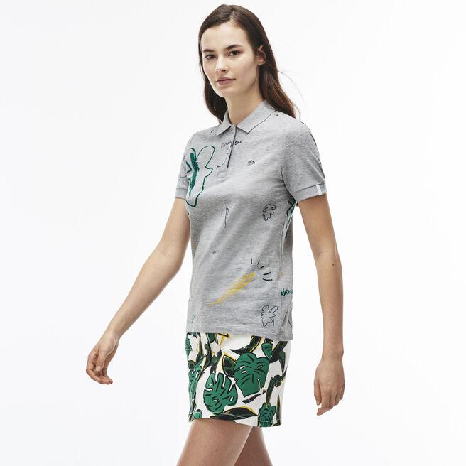Women's L!VE Slim Fit Print Stretch Piqué Polo Shirt