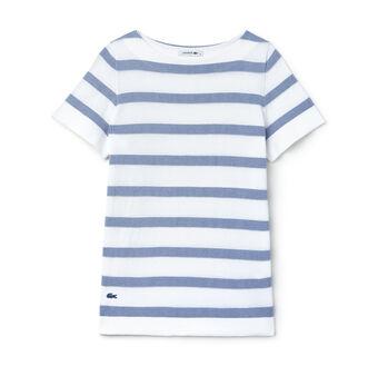 Women's Boat Collar Striped Jacquard Jersey T-Shirt