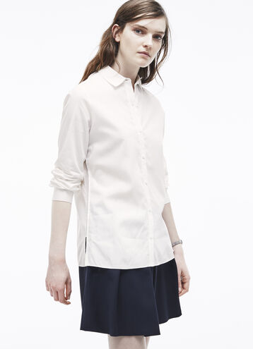 Mesh Inset Voile Shirt