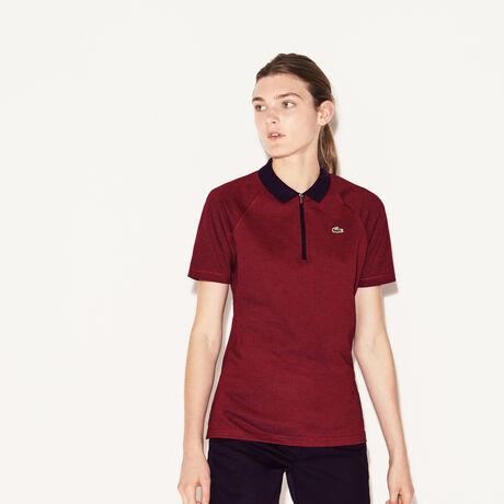 라코스테 집업 골프 폴로 피케 티셔츠 Lacoste Womens SPORT Zip Neck Golf Polo,midnight/red-midnight-red