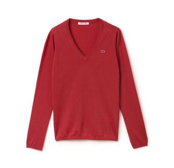 Long Sleeve Cotton Double Overlay V-Neck Sweater